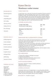 Duties Of A Warehouse Worker For Resume New Warehouse Worker Resume