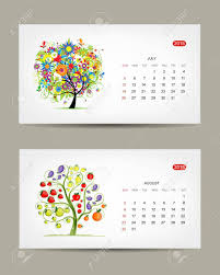 Calendar 2015 July And August Months Art Tree Design Royalty Free
