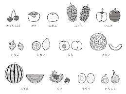 日本語語学教材フルーツのイラストモノクロ Yukik Illust