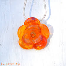 pendant yellow rose necklace glass
