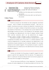 Doc Analysis Of Cations And Anions Docx Ianatus Syarifah