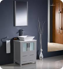 fresca torino 24 grey bathroom vanity with vessel sink