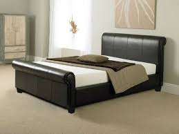 King Size Bed Frame 5ft Brown Faux Leather Modern Bed Sturdy ...