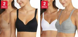 Carole Hochman Seamless Bra Wire Free Molded Cups Comfort Straps 2 Pack S M L Xl