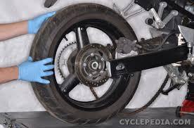 2003 2009 suzuki sv650 online service manual cyclepedia suzuki sv650 rear wheel removal