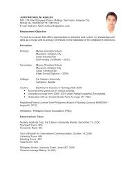 sample resume for non experienced applicant resume resume sample  undergraduate sample resume for nurses applicants in