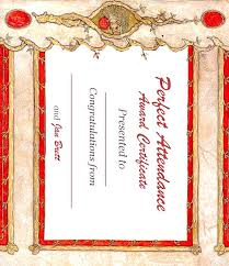 Certificates As Certificate Of Perfect Attendance Sample Copy ...