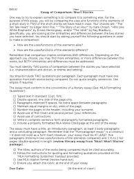 literary analysis essay conclusion example to comparison paragraph  eng3u short stories essay of comparison paragraph rubric 1515335 literary comparison essay essay medium