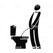 トイレ面白いシンボル男でもトイレでおしっこの紳士ベクトル図 お手洗いのベクターアート素材や画像を多数