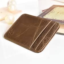 genuine leather brown mens small id credit card wallet holder slim pocket case