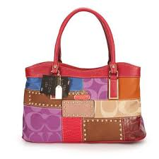 Coach Holiday Fashion Stud Medium Red Multi Satchels EBM