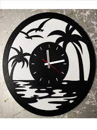round artistic beach view wall clock