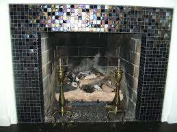 glass tile fireplace surround