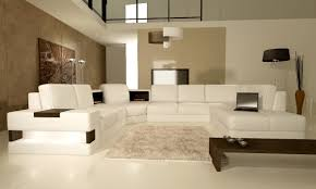 White Leather Living Room Furniture Modern White Leather Sectional Sofa