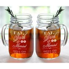 personalized drinking glasses. Simple Drinking Eat Drink And Be Married Set Of 2 Personalized Mason Jars Drinking Mugs  With Handle Mr Mrs Custom Etched Name Date For Wedding  Throughout Glasses 1