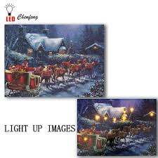 Lighted Christmas Artwork Us 14 99 25 Off Led Canvas Print Artwork Lighted Up Wall Art Santa Claus Reindeer Christmas Oil Painting New Year Decorative Kids Gift In Painting