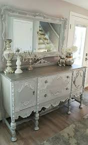 silver painted furniture. Side View Of The Vintage Jacobean Buffet And Mirror Upcycled, Repurposed Refinished. White Gray Chalk Painted, Silver, Dark Glaze, Gilding Wax Silver Painted Furniture