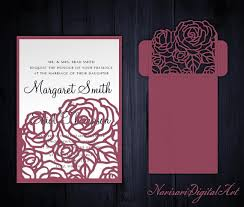 Roses Wedding Invitation Pocket Envelope 5x7 Svg Template