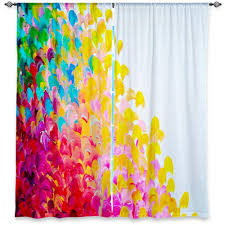 colorful fine art window curtains multiple sizes abstract rainbow splash ocean waves home decor bedroom kitchen