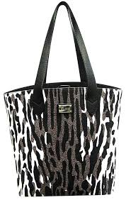 st john new animal print multi colored magnetic snap large black white brown canvas leather tote