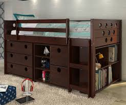 twin size circles low loft bed in cappuccino finish atcp