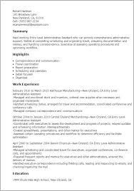 Professional Entry Level Administrative Assistant Templates To
