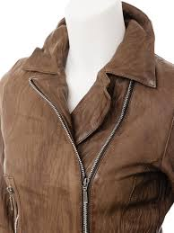 women s brown leather biker jacket montreal side