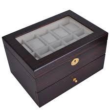 6 10 12 20 24 wood watch display case glass top jewelry storage 6 10 12 20 24 wood watch display