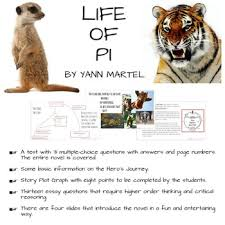 life of pi essay topics administrative assistantbookkeeper cover  linda jennifer teaching resources teachers pay teachers life of pi entire novel is covered test essay