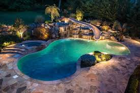inground pools with waterfalls and hot tubs. Swimming Pools And Waterslides With Slides Waterfalls Inground Hot Tubs I