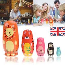 5pcs nesting dolls wooden animal bear russian doll matryoshka toy decor gift uk