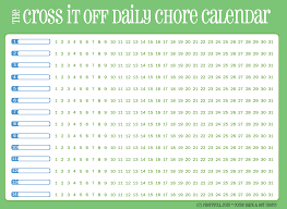 Blank Monthly Chore Chart Free Printable Daily Chore Calendar Green Free Printable