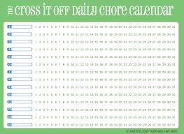 Free Printable Daily Chore Calendar Green Free Printable