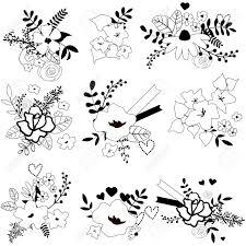 かわいい手描き花の花束分離のセットです結婚式誕生日お祝いカード テンプレート