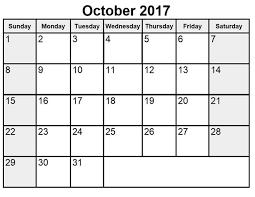 october 2017 printable calendar template printable calendar 2017