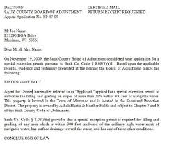 Sample Letter To Dmv Board Of Adjustment Decision Letters Sauk County Wisconsin