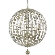 crystorama layla 6 light antique silver chandelier