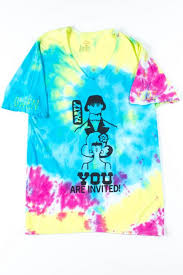 Gwens V Neck Party Invitation Tie Dye Tee