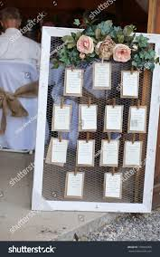 Wedding Photography Rustic Seating Chart Floral Stock Photo