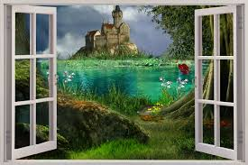 shop categories on castle wall art mural with huge 3d window view enchanted castle wall sticker mural art decal