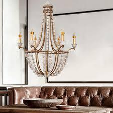 farmhouse design distressed wood beaded 6 light antique gold retro chandelier