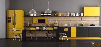 yellow modern straight kitchen interior