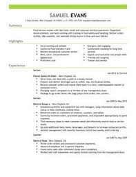 fast food server resume example sample of the resume