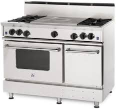 french top range. BlueStar RNB484FTBSS 48 Inch Pro-Style French Top Gas Range With 4 Open Burners, 4.5 Cu. Ft. Convection Oven, Ceramic Infrared Broiler, Variable Heat Zones 1