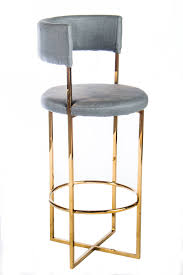 PS113010G-Carrie Gold Bar Stool Stainless steel bar chair with gray faux  leather upholstery.