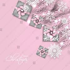 Pink Christmas Card Merry Christmas Greeting Card Pink Fir Tree Branch Gift Box