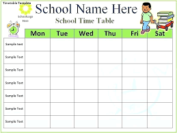 Class Timetable Template Custom Timetable Template For High School Usgenerators