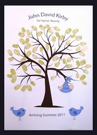 Sweet Swirly Thumbprint Or Fingerprint Tree With Baby And Birds Fingerprint Baby Shower Tree