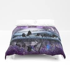 chicago city skyline duvet cover