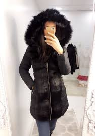 carmel black faux fur trim hooded coat
